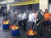 Polres Metro Jakarta Utara Musnahkan 42 Kg Ganja dan 223,4 gram Sabu
