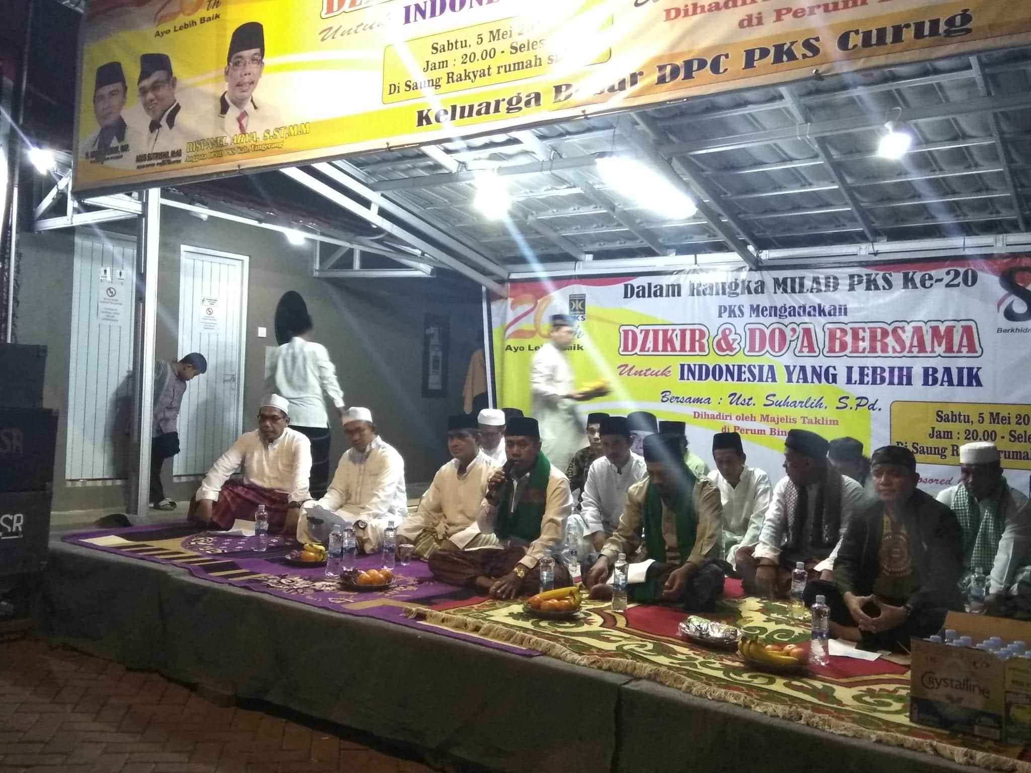 Dzikir Dan Do'a Bersama Rangka Milad PKS Ke 20 Rispanel Arya Bakal Calon Anggota Dewan DPRD Kab. Tangerang Kembali Di 2019